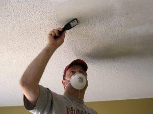 Исправление ошибок покраски и ремонт крашеного потолка